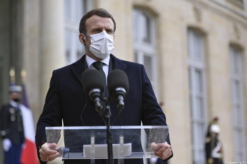 French President, Emmanuel Macron seen during a joint news conference with the President of the Council of Ministers of Poland, Mateusz Morawiecki (not seen) prior to talks at the Elysee Palace in Paris, France on March 17, 2021 [Julien Mattia / Anadolu Agency]