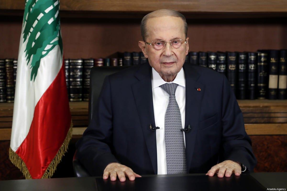 Lebanese President Micheal Aoun in Beirut, Lebanon on March 17, 2021 [Lebanese Presidency/Anadolu Agency]