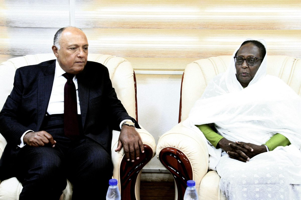 Asma Mohamed Abdalla (R) the newly appointed Sudanese Foreign Minister meets with her Egyptian counterpart Sameh Shoukry in the Sudanese capital Khartoum on September 9, 2019 [EBRAHIM HAMID/AFP via Getty Images]