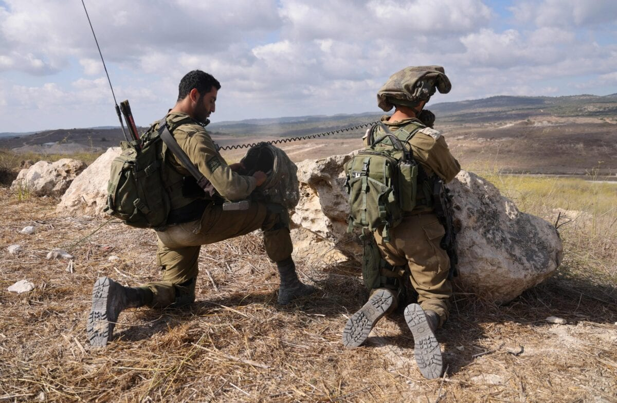 Israeli soldiers take part in military exercises near the northern Elyakim area on October 14, 2020 [EMMANUEL DUNAND/AFP via Getty Images]