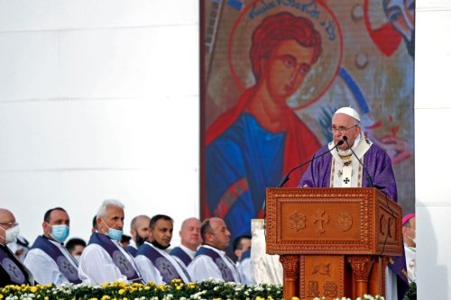 Pope Francis holds a mass at the Franso Hariri Stadium in Arbil, on March 7, 2021, in the capital of the northern Iraqi Kurdish autonomous region [SAFIN HAMED/AFP via Getty Images]