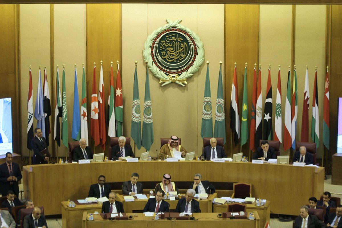A general view of a meeting of Arab foreign ministers with the Palestinian president to discuss a French peace initiative in the Egyptian capital Cairo on May 28, 2016 [STRINGER/AFP via Getty Images]