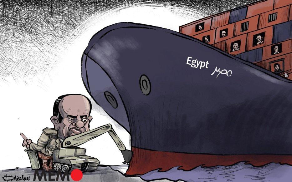 The Suez Canal crisis - Cartoon [Sabaaneh/MiddleEastMonitor]