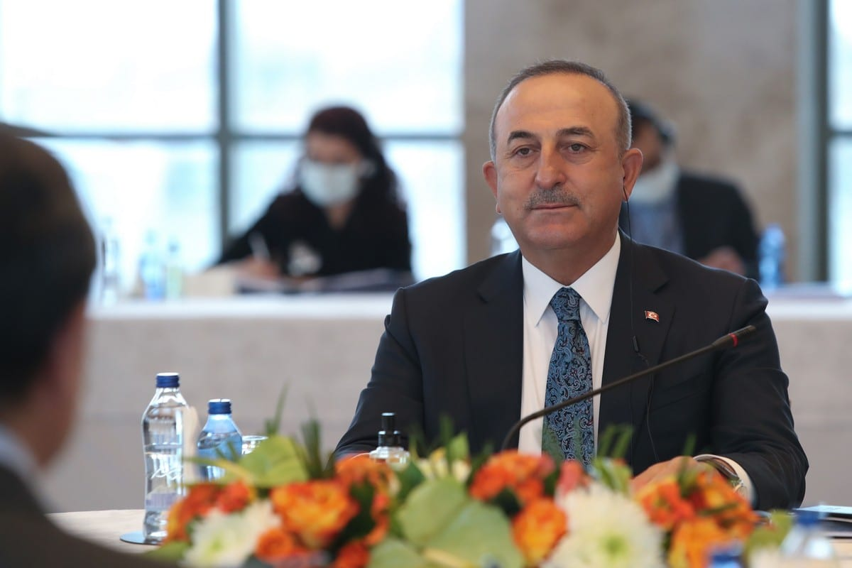Turkish Foreign Minister Mevlut Cavusoglu in Ankara, Turkey on March 25, 2021 [Turkish Foreign Ministry/Anadolu Agency]