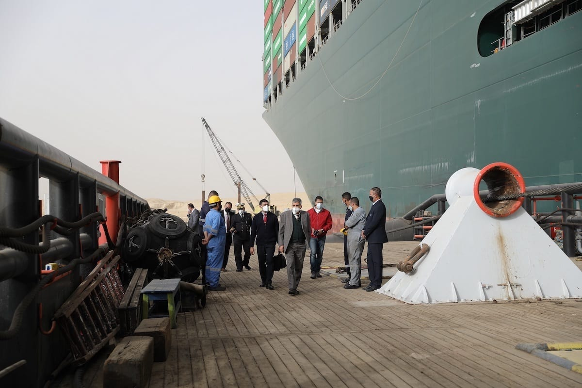 The Floatation Works of the Grounding Vessel in the Suez Canal on 25 March 2021 [Suez Canal Media Center]