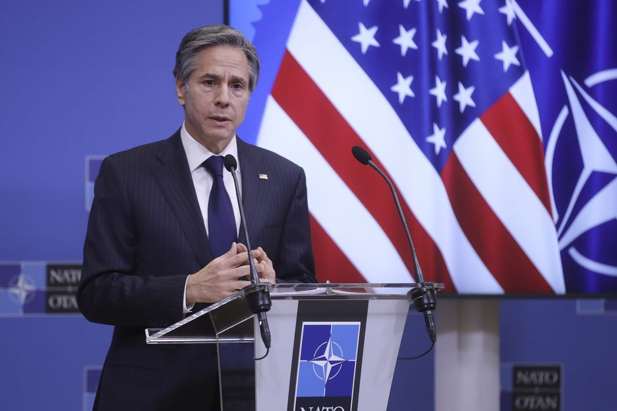 US Secretary of State Antony Blinken gives a press briefing at the end of a NATO Foreign Ministers' meeting at the Alliance's headquarters in Brussels, Belgium, 24 March 2021. [Olivier Hoslet / Pool - Anadolu Agency]