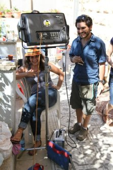 Assistant Director Fuad Hindieh during the making of the multi-award-winning film 'The Cup Reader' in Palestine