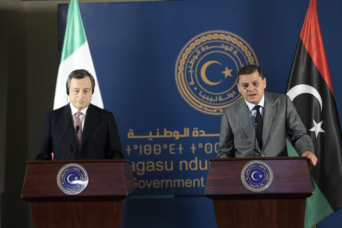 Italy's Prime Minister Mario Draghi (L) and Libyan Government of National Unity Prime Minister Abdul Hamid Dbeibeh (R) hold s joint press conference after their meeting at the Libyan Prime Ministry Office, in Tripoli, Libya on 6 April 2021. [Hazem Turkia - Anadolu Agency]