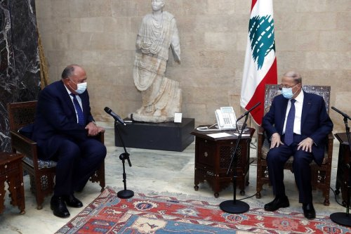 Lebanese President Michel Aoun (R) receives Minister of Foreign Affairs of Egypt, Sameh Shoukry (L) at the Baabda Palace in Beirut, Lebanon on 7 April 2021. [Lebanese Presidency - Anadolu Agency]