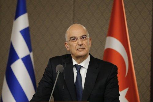 Greek Foreign Minister Nikos Dendias in Ankara, Turkey on April 15, 2021. [Fatih Aktaş - Anadolu Agency]