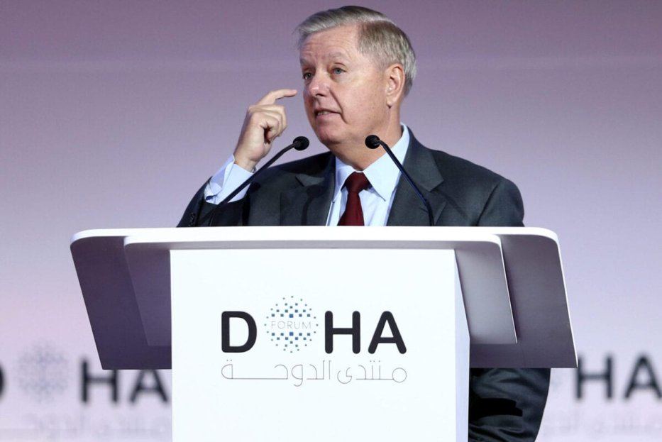 US Senator Lindsey Graham speaks during a plenary session of the Doha Forum in the Qatari capital on December 14, 2019 [MUSTAFA ABUMUNES/AFP via Getty Images]
