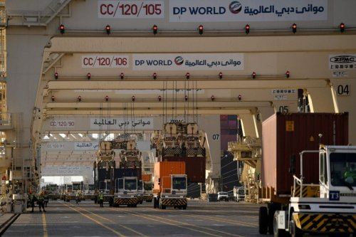 A picture taken on on June 18, 2020, shows ca partial view of the port of Jebel Ali, operated by the Dubai-based giant ports operator DP World [KARIM SAHIB/AFP via Getty Images]