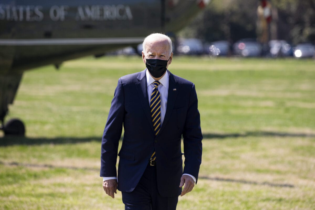 US President Joe Biden on the Ellipse near the White House in Washington, D.C., U.S., on Monday, April 5, 2021 [Michael Reynolds/EPA/Bloomberg via Getty Images]