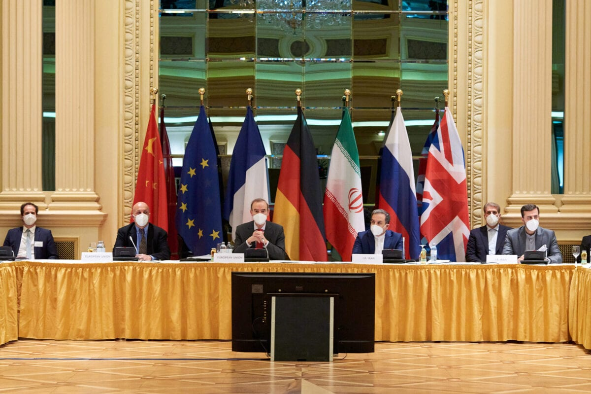 Iran (R) attend the Iran nuclear talks at the Grand Hotel on April 06, 2021 in Vienna, Austria [EU Delegation in Vienna via Getty Images]