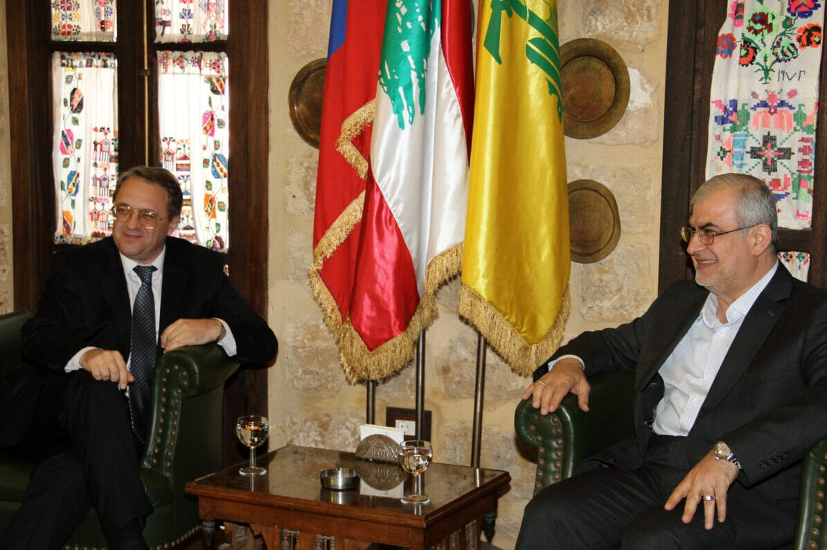 Russian special envoy and Deputy Foreign Minister Mikhail Bogdanov (L) meets with Hezbollah member of parliament Mohammad Raad in Beirut on April 26, 2013 [Mousa Housseini/AFP via Getty Images]