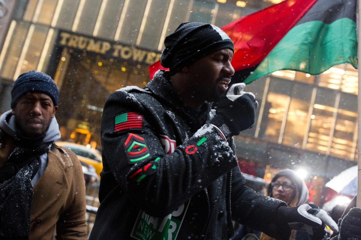 Hawk Newsome, a Black Lives Matter activist, leads a protest outside Trump Tower in New York City on January 14, 2017 [DOMINICK REUTER/AFP via Getty Images]