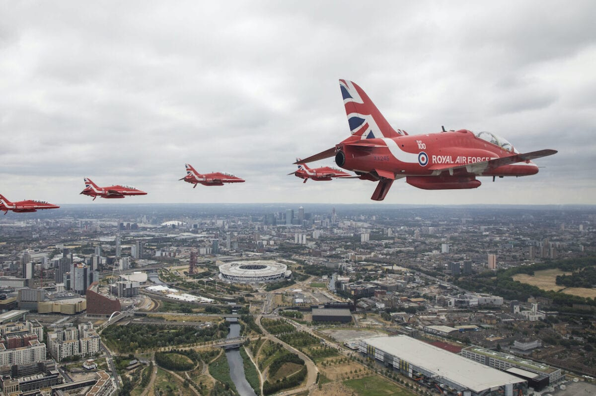 Royal Air Force Aerobatic Team taking part in the Centenary Flypast over Buckingham Palace during RAF 100 celebrations on 10 July 2018 in London, England. [Ministry of Defence via Getty Images]