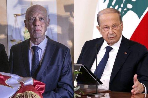 (L)Tunisia's President Kais Saied in Tunis, Tunisia on 13 October 2019 [Yassine Gaidi/Anadolu Agency](R) Lebanese President, Michel Aoun in Beirut, Lebanon on 21 October 2020 [Lebanese Presidency/Anadolu Agency]