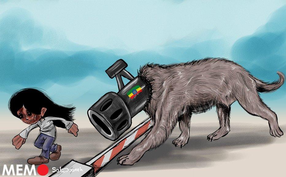 Ethiopians fleeing to Sudan - Cartoon [Sabaaneh/MiddleEastMonitor]