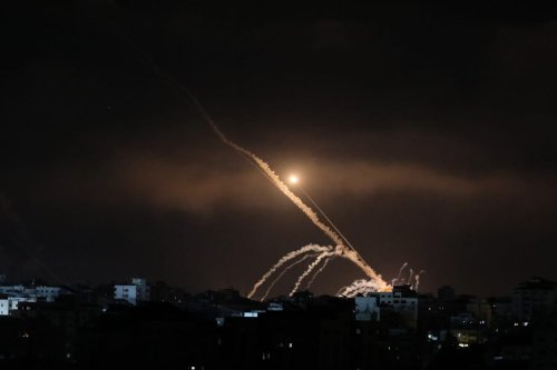Rockets are being fired from Gaza targeting Israeli cities in response to Israeli airstrikes on the Gaza Strip, on 15 May 2021. [Mustafa Hassona - Anadolu Agency]