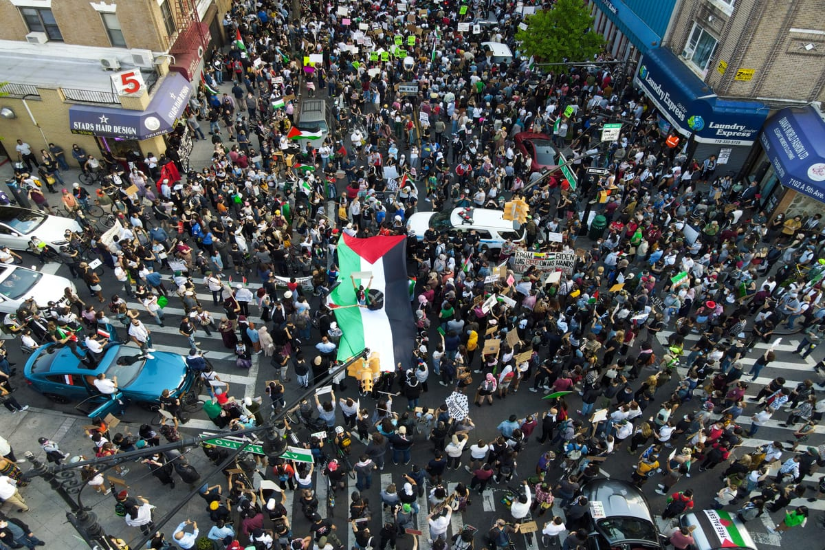 People gather in Brooklyn to demonstrate in support of Palestinians in New York City, United States on May 15, 2021. Protests are taking place worldwide against Israel's recent escalated actions towards the Palestinian people [Tayfun Coşkun / Anadolu Agency]