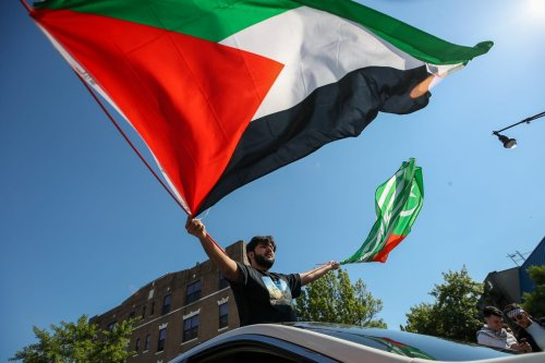 People gather in Brooklyn to demonstrate in support of Palestinians in New York City, United States on 15 May 2021. [Tayfun Coşkun - Anadolu Agency]