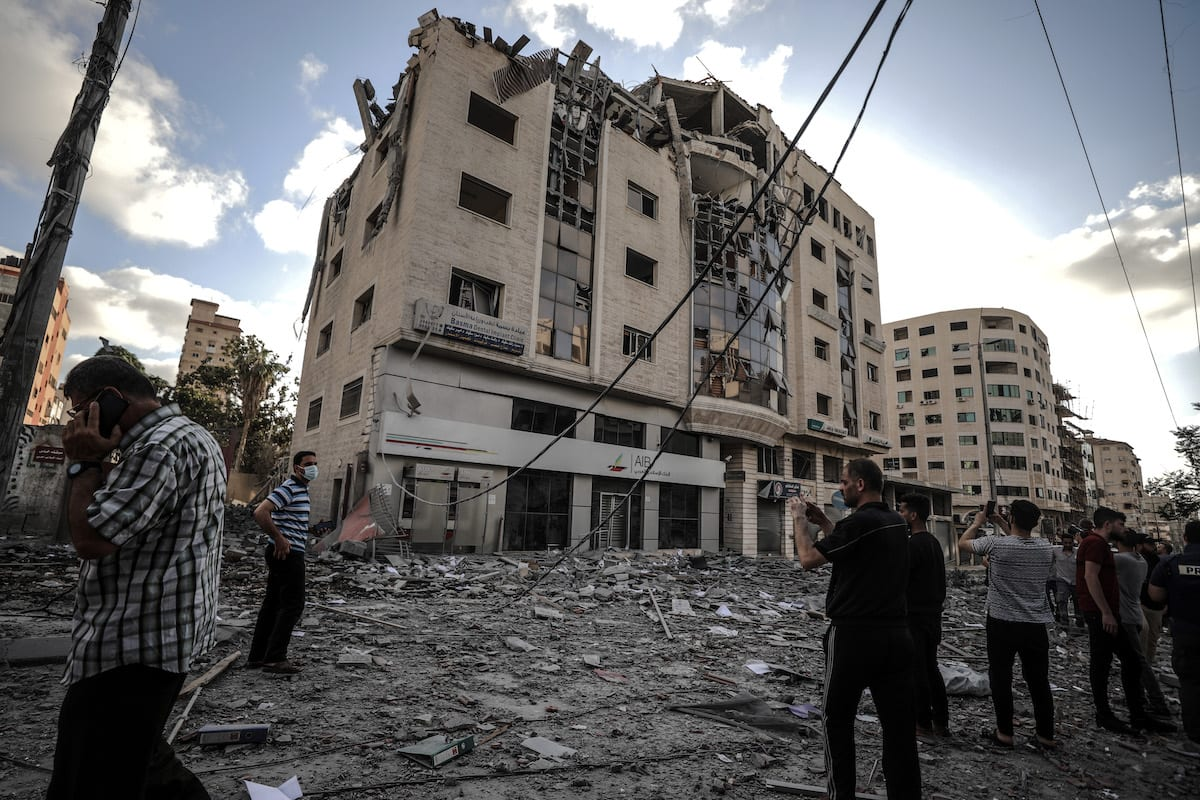 Israel carried out air strike strike at the headquarters of the Qatari Red Crescent Society in Gaza City, Gaza on 17 May 2021 [Ali Jadallah/Anadolu Agency]