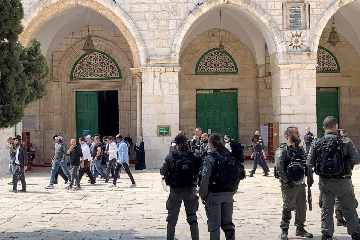 Jewish extremists make a raid on Al-Aqsa Compound in East Jerusalem on May 23, 2021 [Stringer/Anadolu Agency]