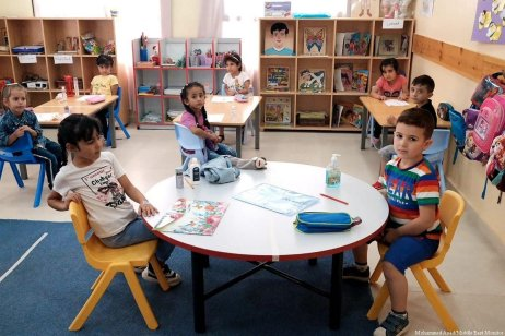 School children in class provided by the American Near East Refugee Aid (ANERA) created to help Palestinian refugees