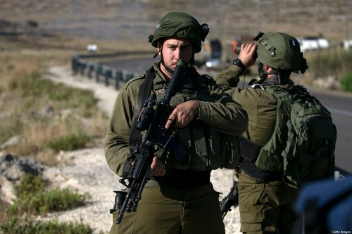 Israeli soldiers in the Israeli-occupied West Bank, on 29 May 2020 [ABBAS MOMANI/AFP/Getty Images]