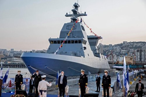 Ceremony marking the arrival of the first of four new German-built Saar 6 naval vessels purchased by the navy, in the northern Haifa city naval base, on December 2, 2020 [HEIDI LEVINE/POOL/AFP via Getty Images]