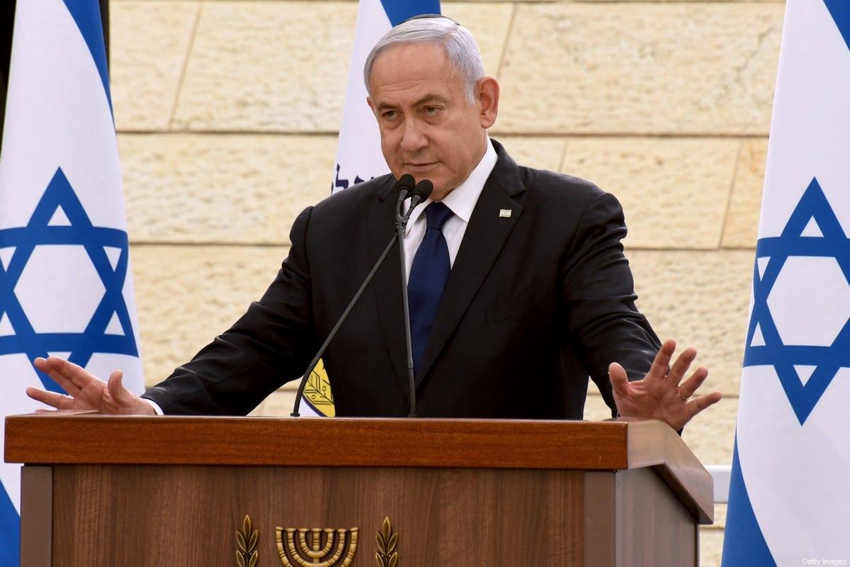 Former Israeli Prime Minister Benjamin Netanyahu on April 13, 2021 [DEBBIE HILL/POOL/AFP via Getty Images]