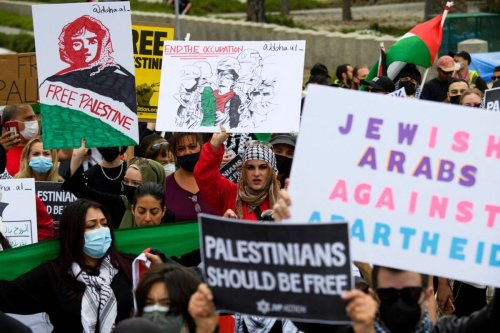 People demonstrate in support of Palestine during the Los Angeles Nakba 73 on May 15, 2021 in Los Angelesx[PATRICK T. FALLON/AFP via Getty Images]