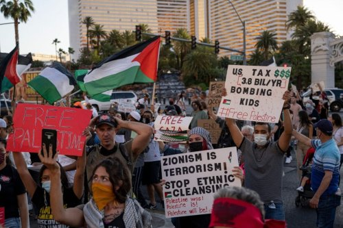 Pro-Palestine protesters on May 15, 2021 [BRIDGET BENNETT/AFP via Getty Images]