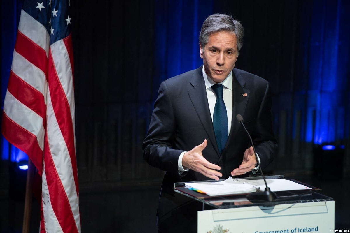 US Secretary of State Antony Blinken speaks during a joint press conference following meetings with the Icelandic Foreign Minister at the Harpa Concert Hall in Reykjavik, Iceland, May 18, 2021. [SAUL LOEB/POOL/AFP via Getty Images]