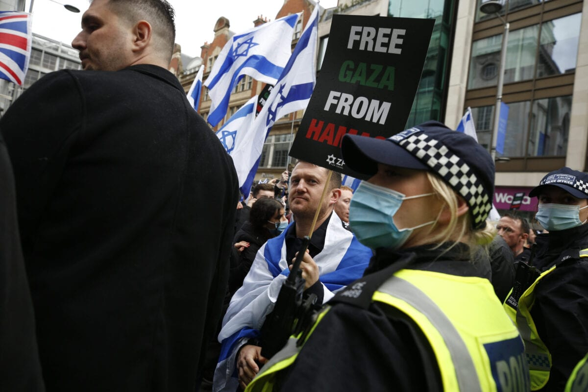 British far-right and anti-Islam activist Tommy Robinson attends a Pro-Israel demonstration outside the Israeli Embassy on May 23, 2021 in London, England [Hollie Adams/Getty Images]