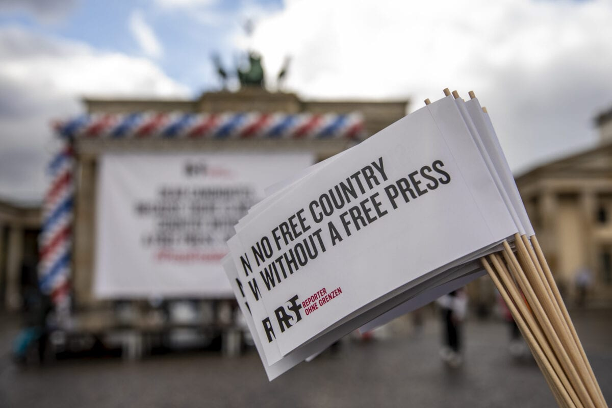 Supporters of Reporters Without Borders (RSF) on October 07, 2020 [Maja Hitij/Getty Images]