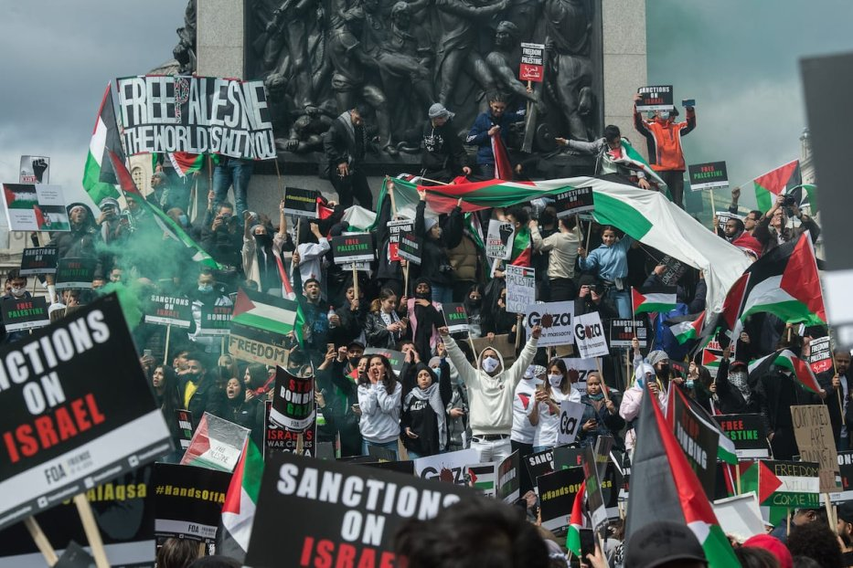 A huge demonstration of tens of thousands of people marches from the Embankment to Hyde park in solidarity with the Palestinian people on May 22, 2021 in London, England. [Guy Smallman/Getty Images]