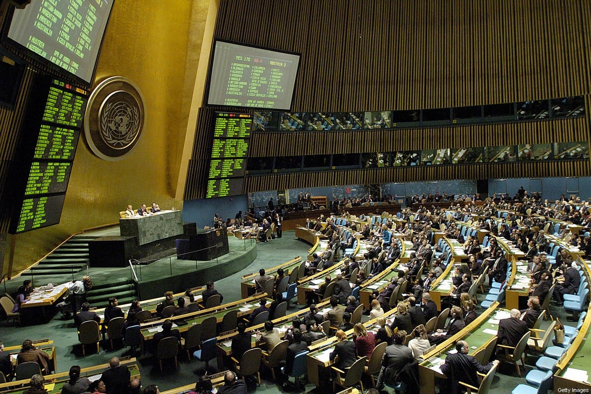 The United Nations General Assembly votes on a resolution to establish the UN Human Rights Council, 15 March, 2006, at UN headquarters in New York. [STAN HONDA/AFP via Getty Images]