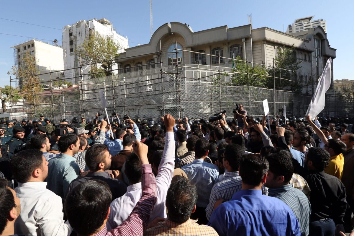 Iranian protesters shout slogans during a demonstration against Saudi Arabia outside its embassy in Tehran on September 27, 2015, four days after some Iranian pilgrims were killed in a stampede at the hajj. Iran's supreme leader Ayatollah Ali Khamenei demanded Saudi Arabia apologise for a stampede that killed 769 pilgrims at the hajj, as a war of words escalated between the regional rivals. At least 144 Iranians died in the crush -- the highest confirmed toll among foreign nationalities. Tehran says 323 Iranians are missing. AFP PHOTO / ATTA KENARE (Photo credit should read ATTA KENARE/AFP via Getty Images)