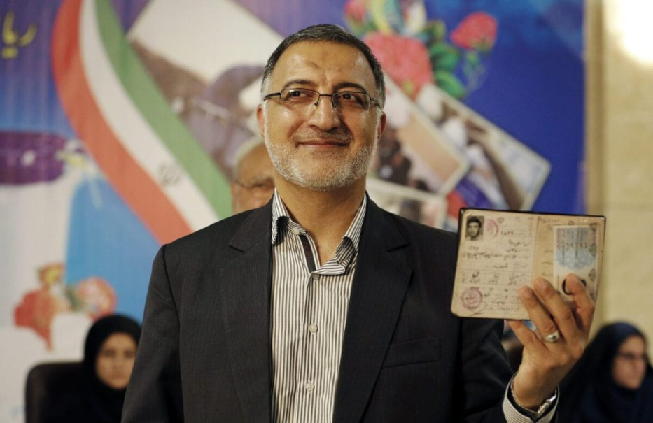 Iranian conservative presidential candidate, Alireza Zakani, registers his candidacy for the upcoming presidential elections at the ministry of interior in the capital Tehran on April 14, 2017. / AFP PHOTO / ATTA KENARE (Photo credit should read ATTA KENARE/AFP via Getty Images)