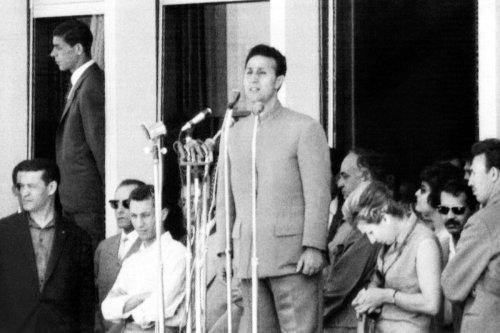 Algerian President Ahmed Ben Bella(C) July 5, 1964 in Algiers [STF/AFP via Getty Images]