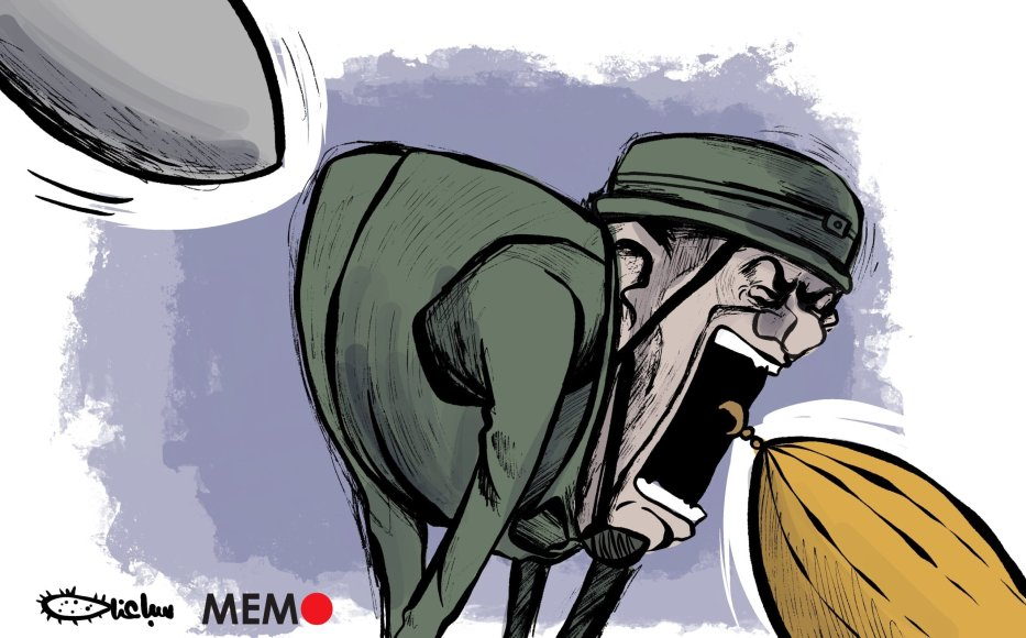 Israel is carrying out war crimes against worshippers at Al Aqsa Mosque - Cartoon [Sabaaneh/MiddleEastMonitor]