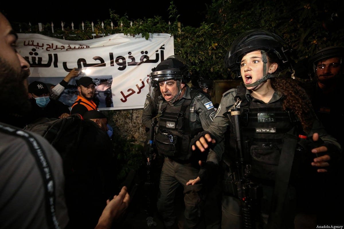 Israeli forces intervene in Palestinians during a demonstration at Sheikh Jarrah neighborhood after Israeli government's plan to force some Palestinian families out of their homes in East Jerusalem on May 05, 2021 [Mostafa Alkharouf/Anadolu Agency]