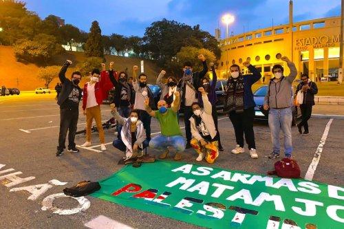 Protesters at solidarity rallies in Sao Paulo, Brazil, May 2021. [Fatma Abu Watfa]