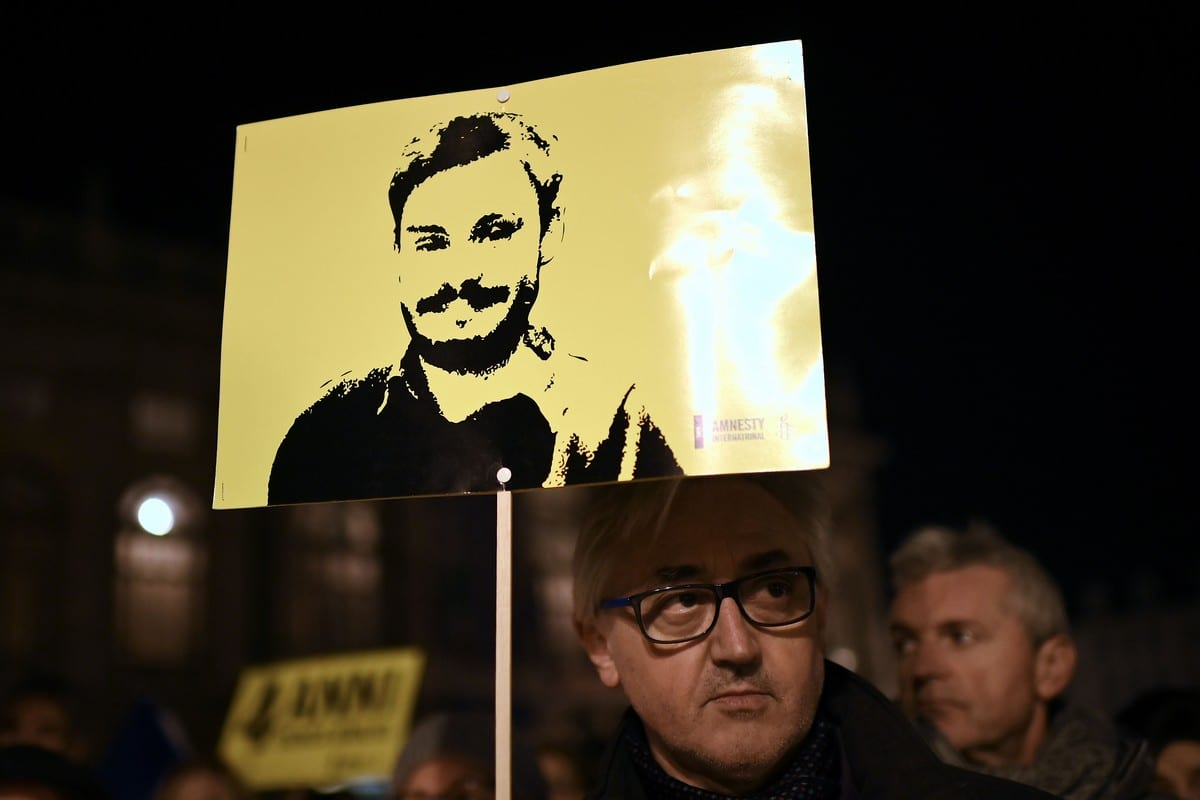 Protest in Italy on 25 January 2020 for Italian student Giulio Regeni who was murdered in Egypt [MARCO BERTORELLO/AFP via Getty Images]