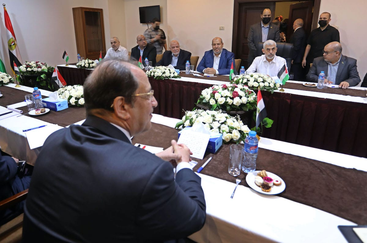 Head of the Egyptian Intelligence Service Abbas Kamil meets Hamas' Gaza chief Yahya Sinwar in Gaza City, Gaza on May 31, 2021. [Ashraf Amra - Anadolu Agency]