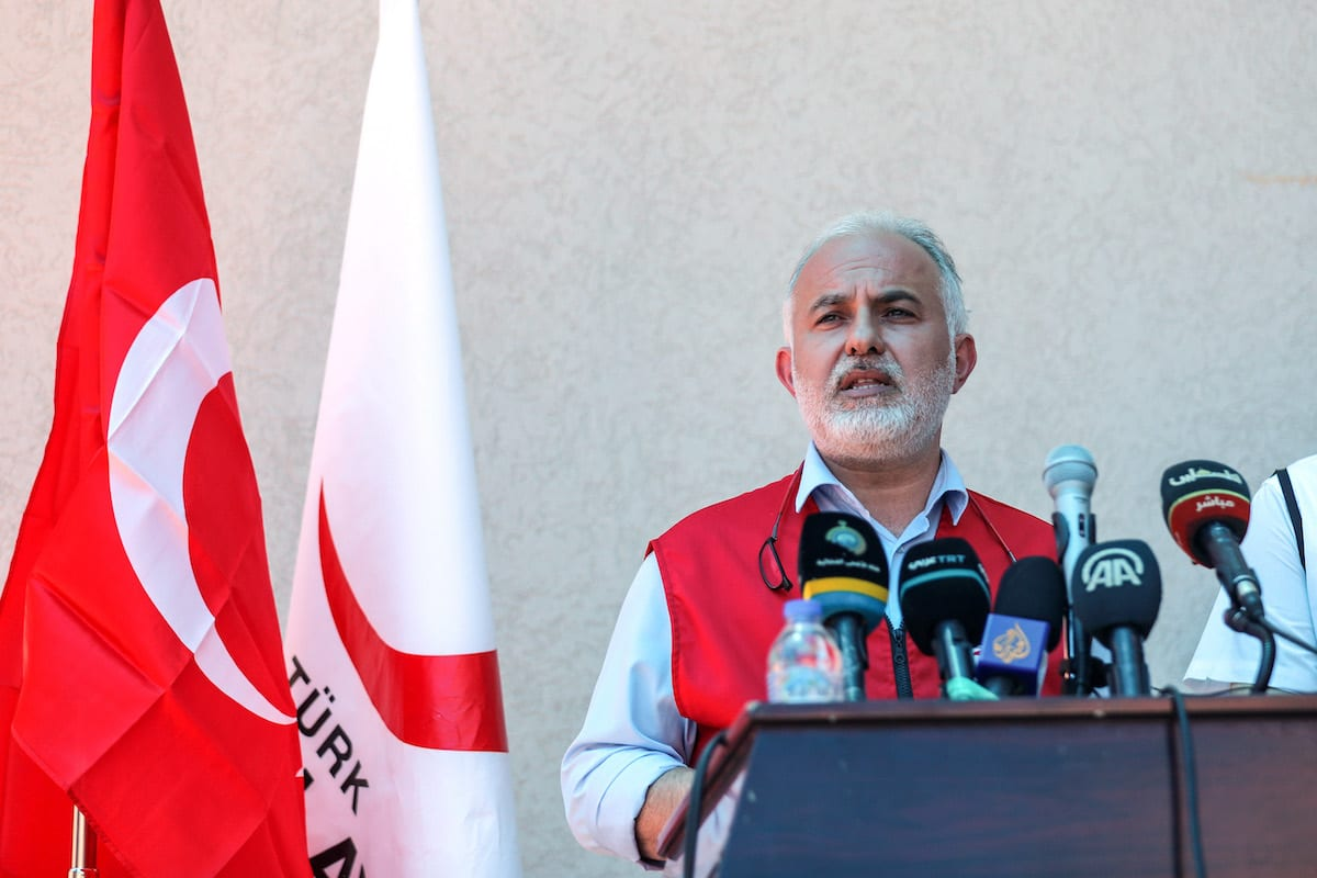 Head of the Turkish Red Crescent Kerem Kinik speaks during a press conference as he attends an opening ceremony of a disaster and logistic center in Gaza City, Gaza on 20 June 2021. [Mustafa Hassona - Anadolu Agency]