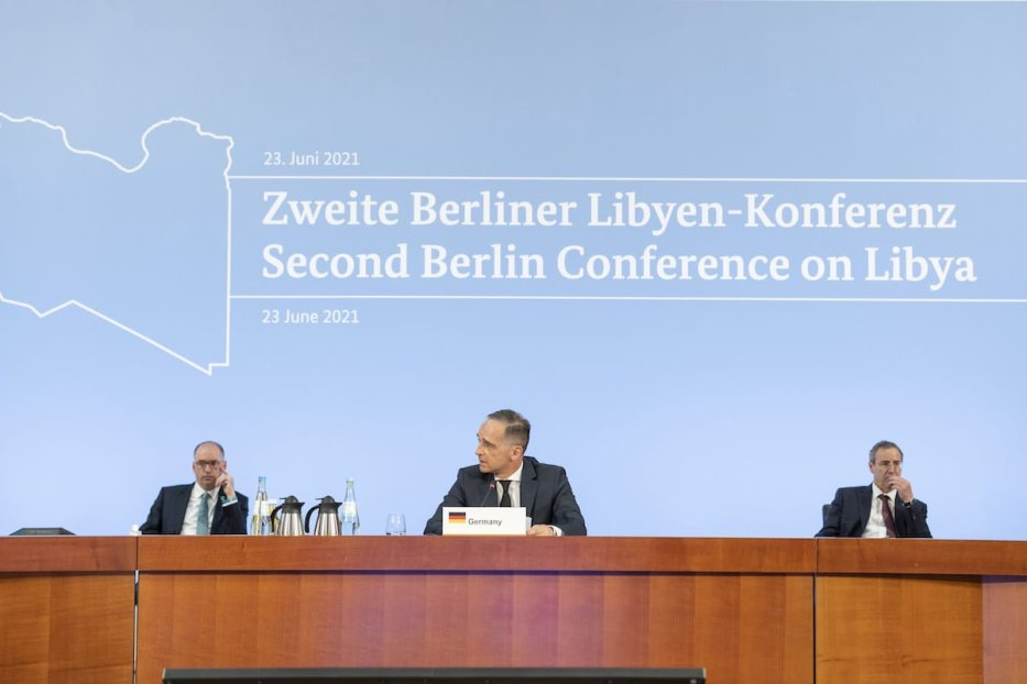 German Foreign Minister, Heiko Mass (C) speaks during the Second Berlin Conference on Libya, in Berlin, Germany on 23 June 2021. [Thomas Imo/photothek.de/Pool - Anadolu Agency]