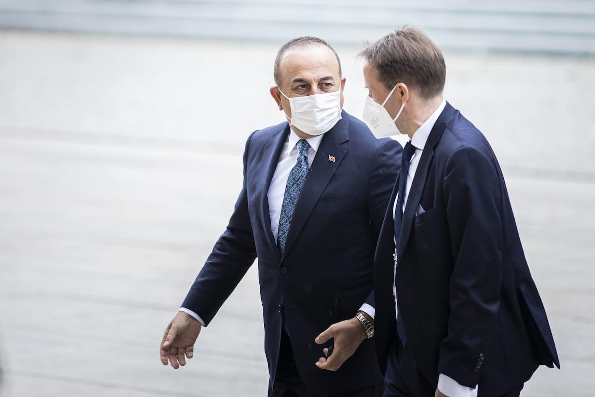 Turkish Foreign Minister Mevlut Cavusoglu (L) arrives to attend the Second Berlin Conference on Libya, in Berlin, Germany on 23 June 2021. [Florian Gaertner/photothek.de/Pool - Anadolu Agency]